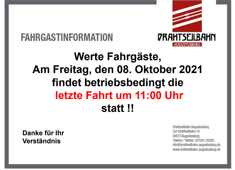 Drahtseilbahn fährt am 8.10. nur am Vormittag